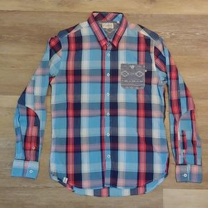7 Diamonds Men's Slim Fit Plaid Long Sleeve Shirt